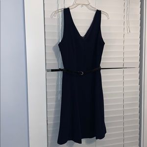 Dark navy blue dress with belt